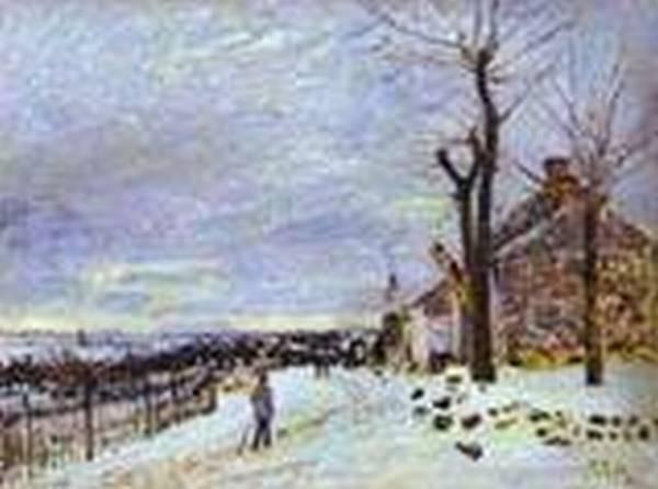 snowy weather at veneux nadon 1880 XX musee dorsay paris france